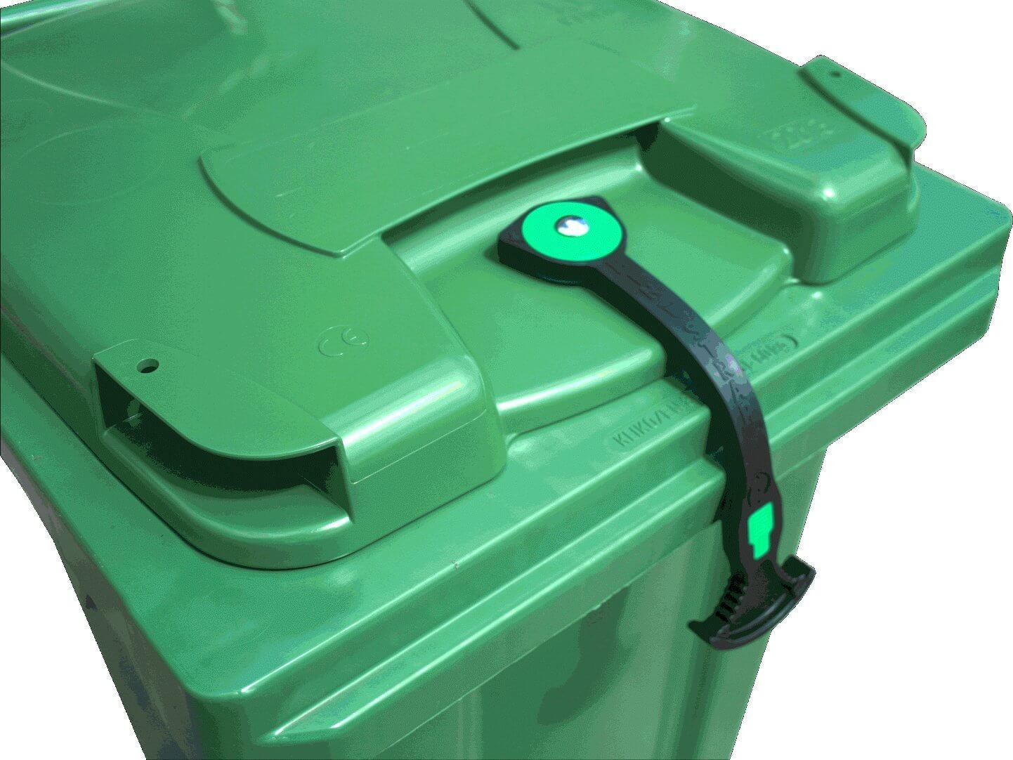 A BinStrap holding the lid on a green rubbish bin.