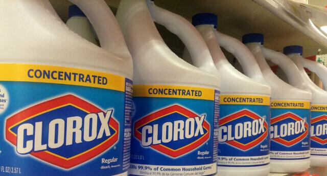 Bleach bottles on a shelf
