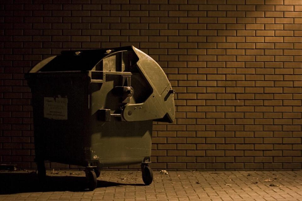 Rubbish Bin In Alley