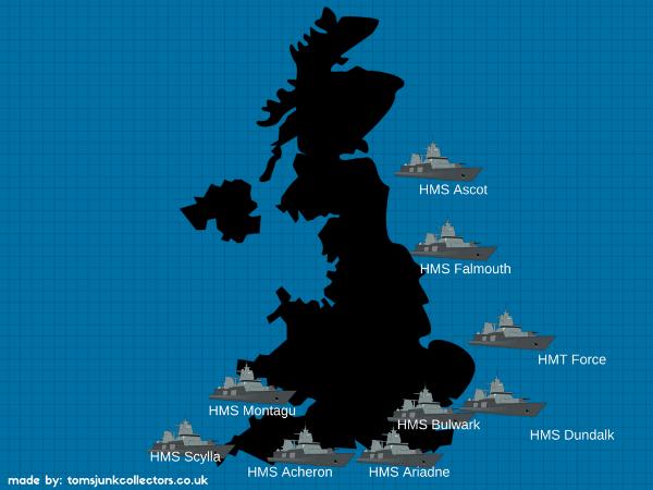 Map of Sunken Ships on Shores of UK
