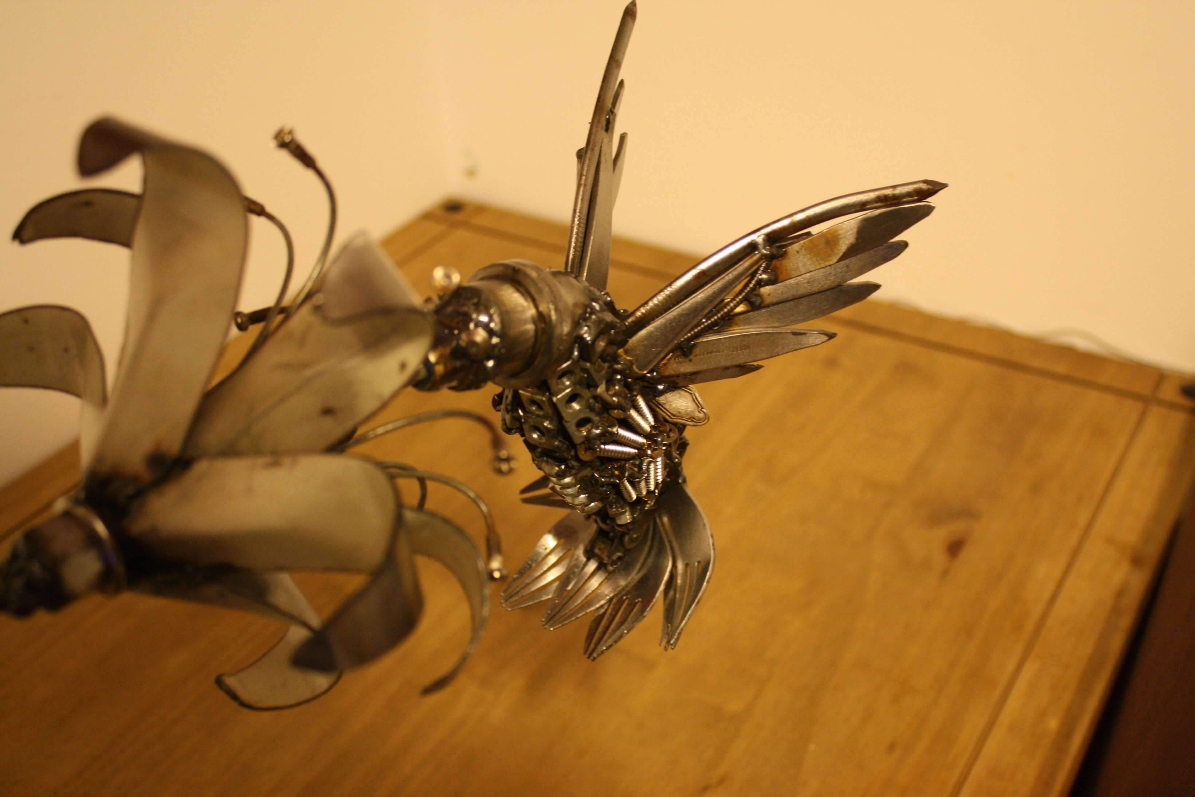 Hummingbird made from forks and other metal waste