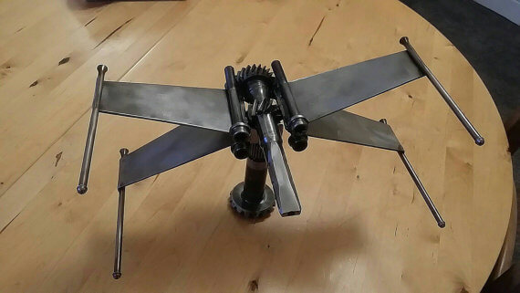 Rebel fighter jet made from a drive shaft