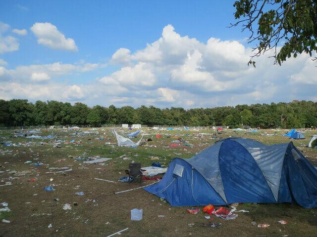 Campsite covered in rubbish