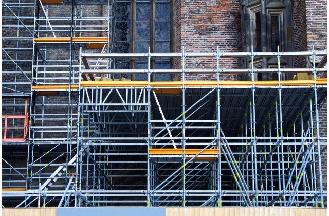 Scaffolding boards on a construction site.