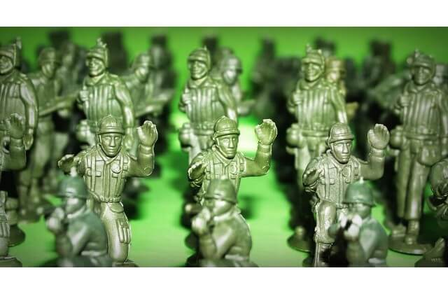 Toy soldiers ready for battle.